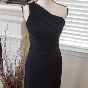 One Shoulder Ruched Gown w Brooch Ralph Lauren 6